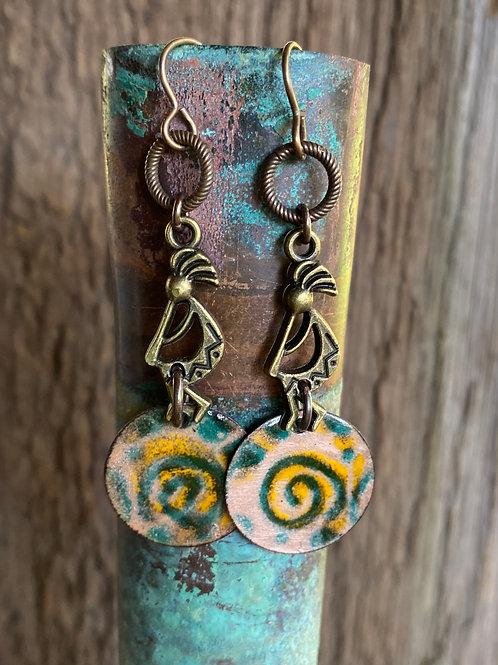 Brass Kokopelli's and Copper Enameled Spiral Design Earrings
