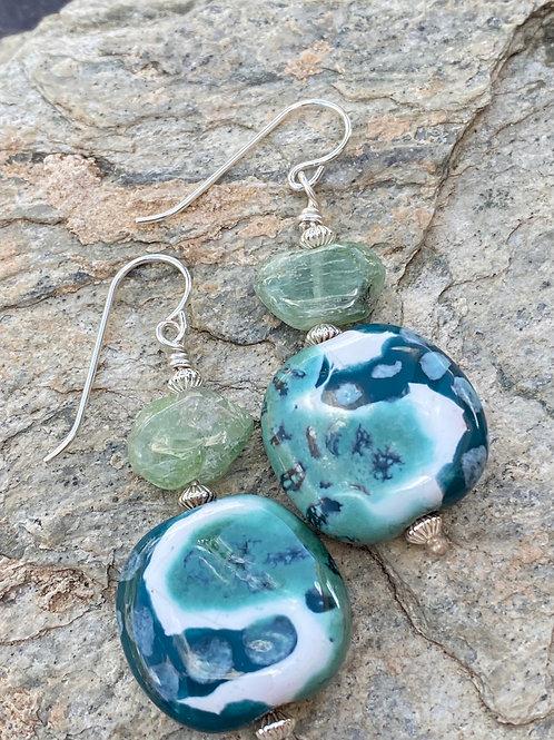Green Kyanite with Teal Earrings