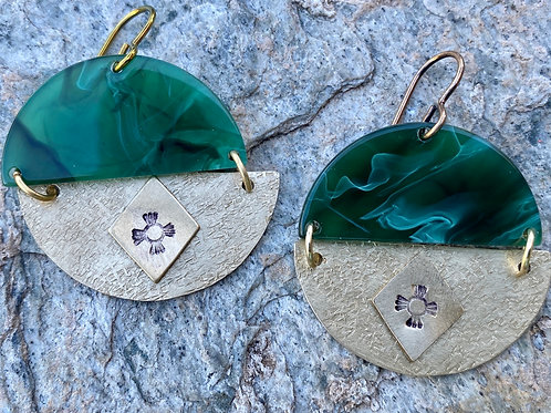 Jade Green Acrylic and Textured Gold Brass Earrings
