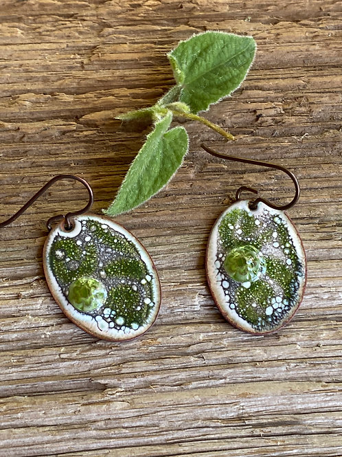 Enameled copper ovals in shades of fern green and white