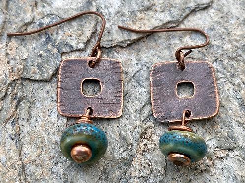 Copper and Green Ceramic Petite Earrings