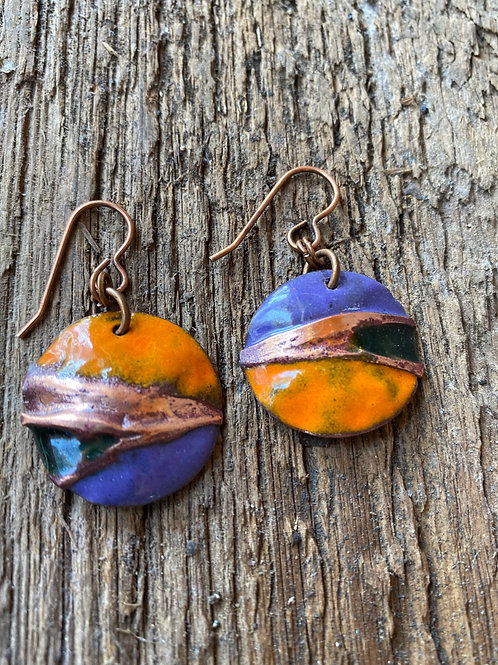 Air Chased copper earrings with mandarin orange and cobalt blue