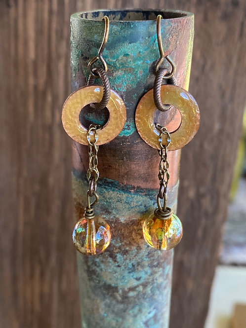 Embossed and transparent enameled copper washer  earrings