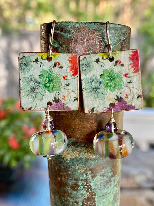 Vintage Charm Earrings with Lampwork Glass Dangles