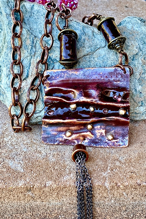 Air Chased Organic Copper Enamel  Necklace