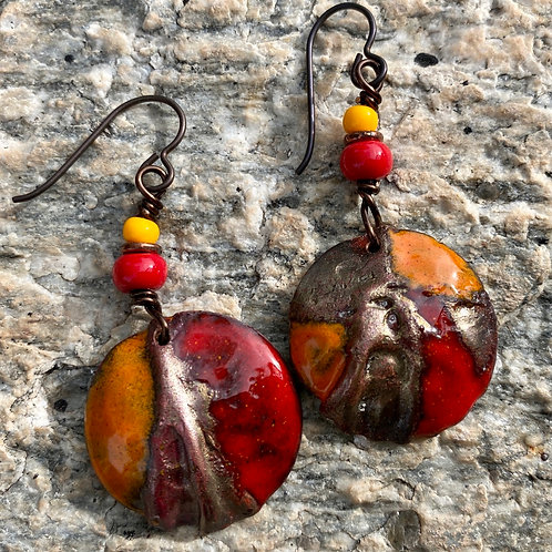 Shades of Flame Red and Mandarin Orange Copper Enamel Earrings