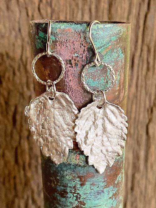 Fine Silver Tomato Leaf Earrings