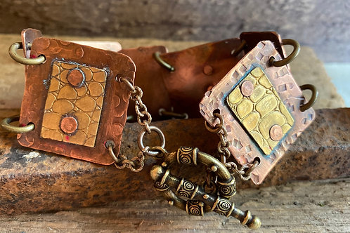 Brass and Copper Textured Link Bracelet