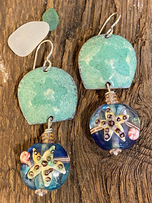 Glass Starfish and Enameled Earrings