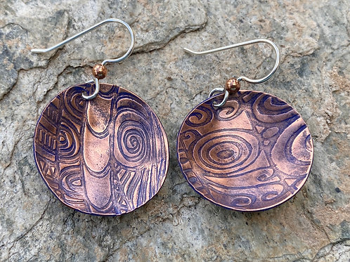 Copper and Cobalt Blue Copper Disc Earrings