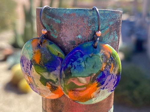 Handpainted Copper Enameled Glass Earrings
