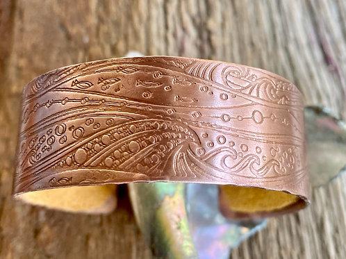 Copper Cuff Bracelet - Waves Pattern