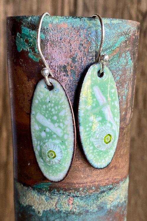 Copper enamel earrings in green and white