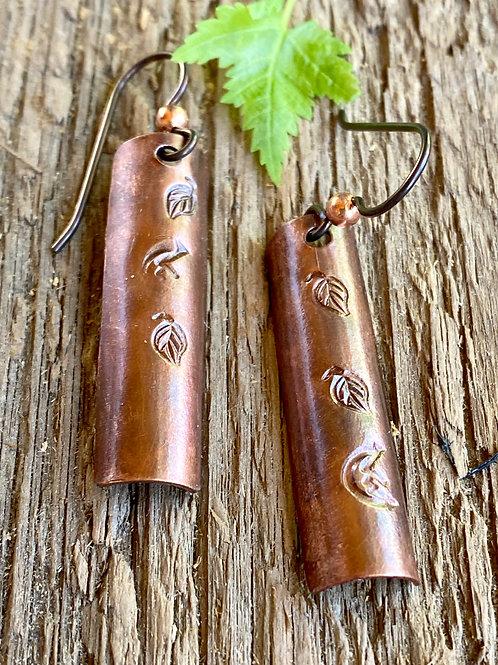 Copper metal stamped leaf rectangle earrings