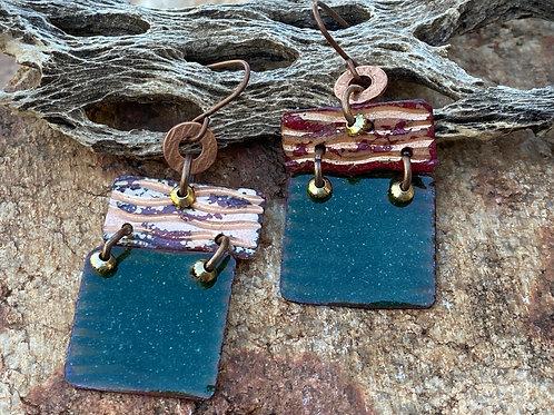 Earthy Copper Enamel Earrings