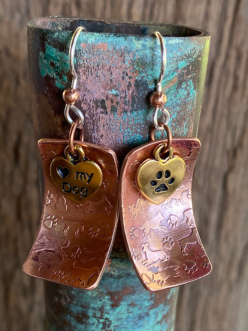 Copper Dogs and Paw Print Earrings
