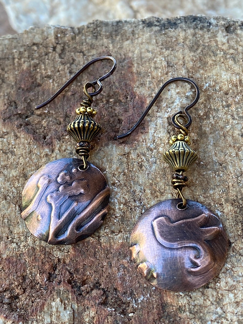 Embossed Birds Copper and Brass Earrings
