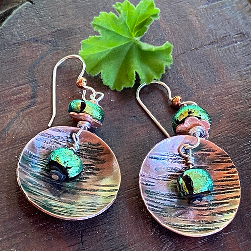 Textured Copper Disc Earrings - with Green Dichroic Glass