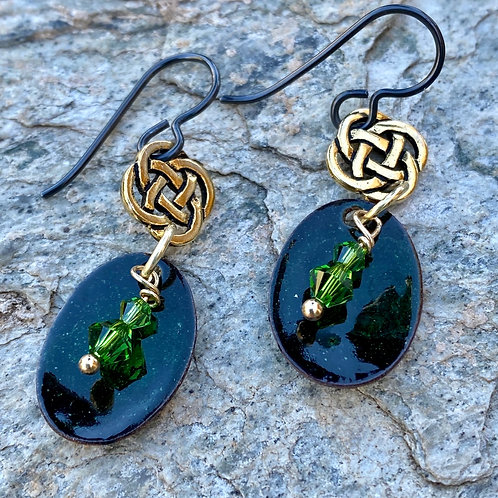 Celtic Charms with Black and Green  Enamel Earrings
