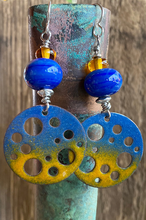 Torch fired copper enamel in blue and yellow
