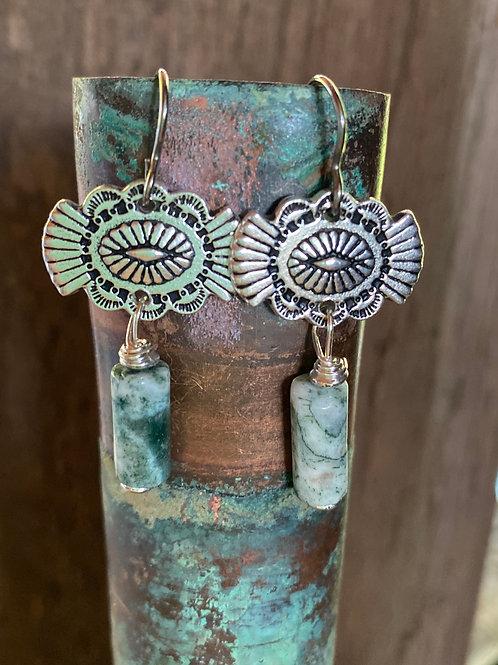Pewter SouthWest button earrings  with  Ocean Jasper tubes