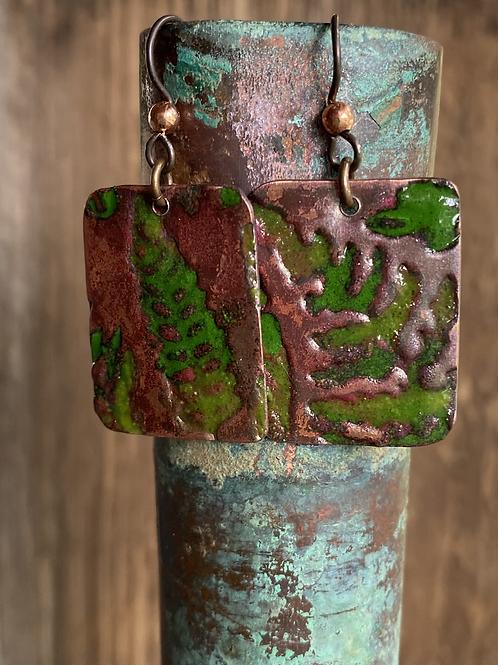 Copper Enamel Fern Earrings