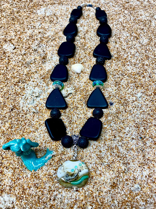 Black Seaglass and Lampwork Glass Necklace