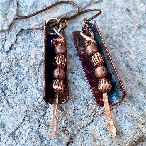 Copper Enamel Tube Earribgs
