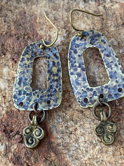 Hammered Brass drop and Dangle Earrings