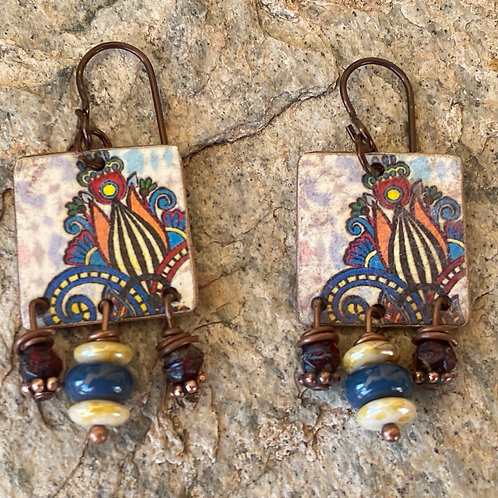 Oriental Faux Tin Copper Artisan Charms Earrings
