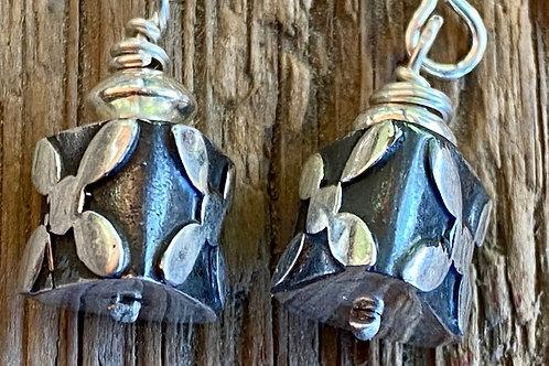 Bali Silver Triangular Flower Earrings