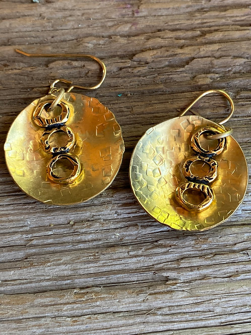 Convex brass textured  disc earrings