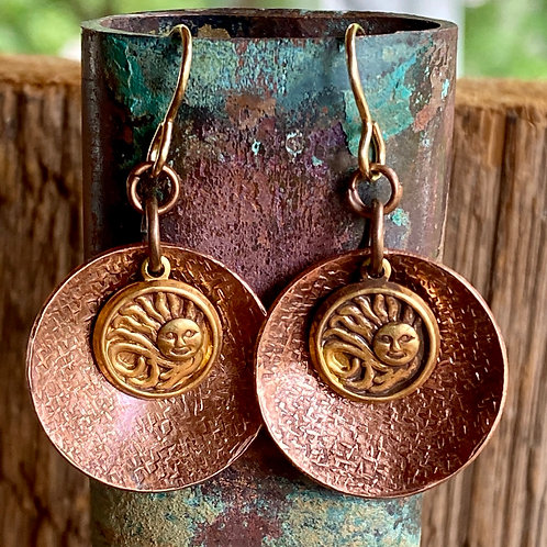 Patterned Copper Earrings with Brass Sunshine Charms