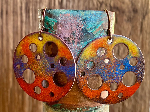 Multicolored  enameled round drop and dangle earrings