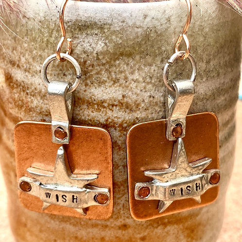 Copper and Pewter Wishful Star Earrings