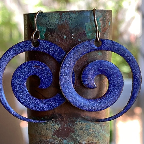 Business  on the Front -  Copper Enamel Spiral Earrings