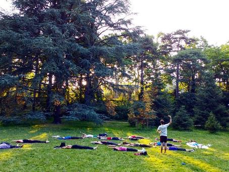 Cours de Pilates au parc de la tête d'or