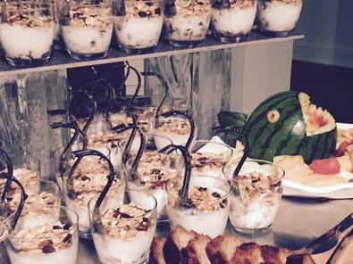 Shark Tank style event breakfast display