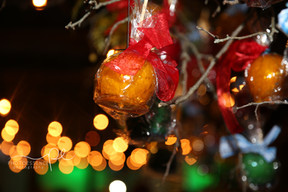 Candied Apples hanging on branches