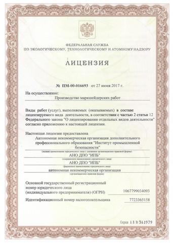 Лицензия проведение маркшейдерских работ лист 1