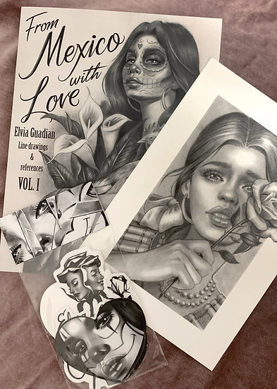"""From Mexico with love"" book + sticker pack 6 pieces + print of choice"