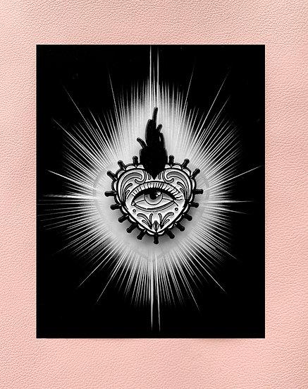 Sacred heart enamel pin