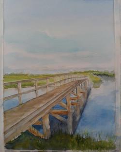 aquarel, brug in polder