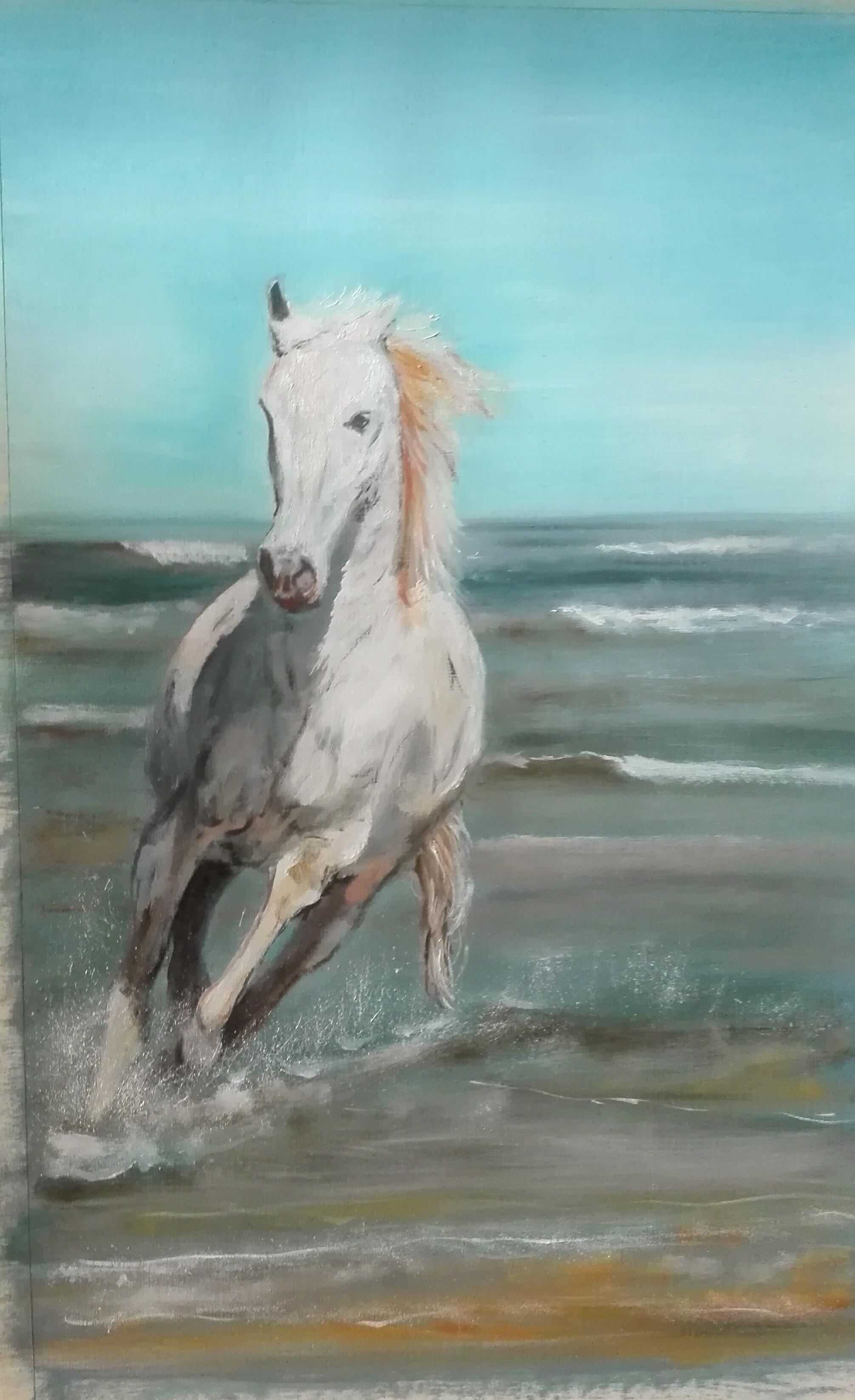 paard op strand