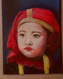 nepalees meisje in klederdracht