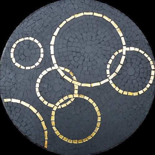 Table basse en mosaïque & socle doré // Edition LIMITEE