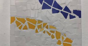 Atelier mosaïque Luna création bleu jaune