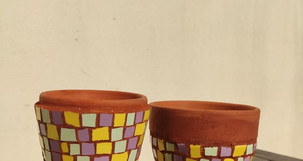 Atelier mosaïque pot de fleur
