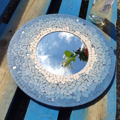 miroir mosaïque bleu
