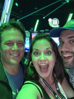 E3 2019 w/ my husband (right: Vernon Di Carlo) and head of XBox, Phil Spencer (Left)